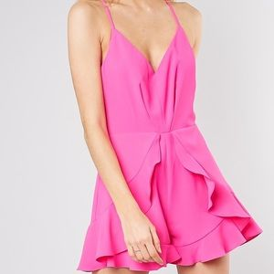Do + Be Pink Ruffle Front Romper
